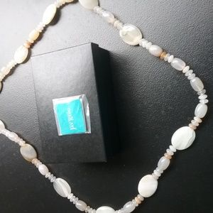 "40"" Polished Ivory Colored Stone Necklace"